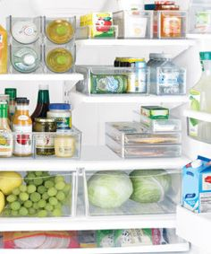 Container Store fridge organization, declutter tips & products called FRIDGE BINZ. Organisation Hacks, Freezer Organization, Refrigerator Organization, Kitchen Organization, Kitchen Storage, Organized Fridge, Clean Fridge, Fridge Cleaning, Organizing Tips