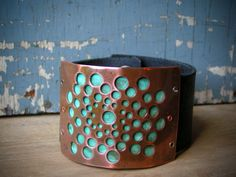Copper Holes and Verdigris Patina Leather Cuff. ssdjewelry, via Etsy. Copper Holes and Verdigris Patina Leather Cuff. ssdjewelry, via Etsy. Diy Leather Bracelet, Leather Cuffs, Leather Jewelry, Copper Bracelet, Jewelry Crafts, Jewelry Art, Beaded Jewelry, Jewlery, Wire Jewelry