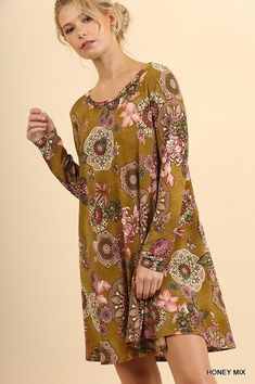 Umgee Long Sleeve floral print A line boho swing dress Tunic Plus S M L 1X 2X 3X #umgee #Tunic #casual