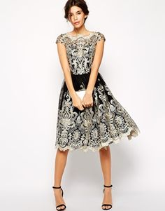 0d4be9b36dbc Chi Chi London Premium Metallic Lace Midi Prom Dress with Bardot Neck at  asos.com