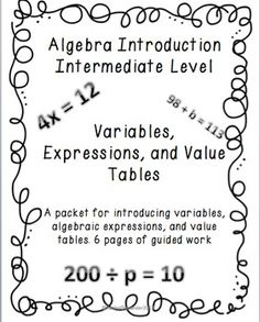 Algebra Introduction: Variables, Algebraic Expressions and Algebra Tables