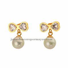 pendiente de perla con lazo brillo dorado para mujer -SSEGG602381