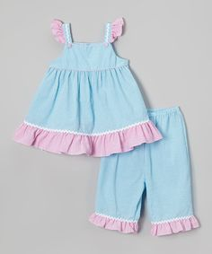 Look at this Petit Pomme Blue & Pink Angel-Sleeve Top & Capri Pants - Infant & Toddler on #zulily today!