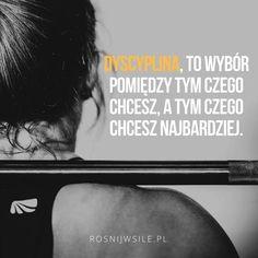 """""""Dyscyplina, to wybór między tym czego chcesz, a tym czego chcesz najbardziej"""".  #rozwój #motywacja #sukces #inspiracja #sentencje #rosnijwsile #aforyzmy #quotes #cytaty Life Is Good, Healthy Lifestyle, Training, Bts, Messages, Sport, Words, Quotes, Inspiration"""