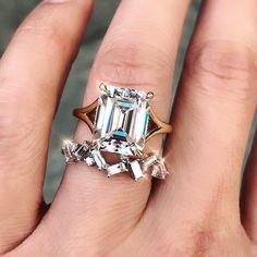 "cf50b3e95d3460 Trabert Goldsmiths on Instagram: ""Sparkle SZN ✨ Our latest Aura features a  gorgeous emerald cut #moissanite on a gold split shank band."