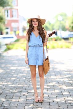 LOTD Southern Curls and Pearls in a Chambray Romper Love it? Shop the style here. #ChambrayRomper #SouthernCurlsAndPearls