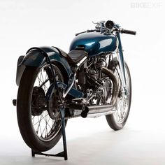 """The most famous Vincent of all time, Marty Dickerson's 1948 Series B Rapide, known as the """"Blue Bike""""."""