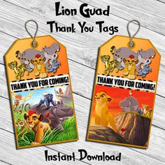 Lion Guard Birthday Party Thank You Tag Thank by DreamsDigital