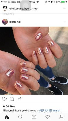 Rose gold chrome metal nails
