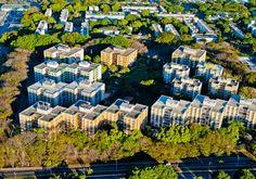 Disposição dos blocos de residências de uma das superquadras da Asa Sul.- Bento Faria