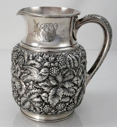 Exceptional repoussé work, with deeply chased foliage and birds, in this sterling pitcher by Theodore Starr, New York (Britannia Silver) water jug on table Vintage Silver, Antique Silver, Antique Jewelry, Silver Pooja Items, Silver Furniture, Silver Table, Art Nouveau Jewelry, Silver Stars, Bling