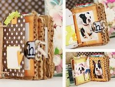 This lady's cardboard mini scrapbook album is simply beautiful! She made it out of left overs, odds and ends, and it turned out beautifully! Very inspiring.