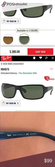 Ray Ban Highstreet Men's Sunglasses Excellent condition. Black frame with green lenses. RB4075 601/58 3P Ray-Ban Accessories Sunglasses
