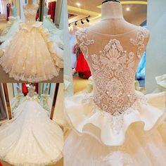 AHW017 New Arrival Elegant Chiffon Train Wedding Dresses with Beaded 2017