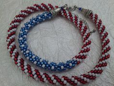 Beaded Kumihimo Necklace American Flag Necklace, Patriotic Necklace, Red, White and Blue, Fourth of July, July 4th by CraftingFever on Etsy