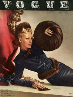 Vogue August 1938, photo by Horst,Helen Bennetin velvet suit by Russeks