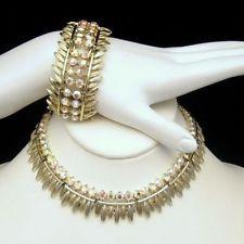 BSK Vintage Necklace Wide Bracelet Set Gorgeous AB Rhinestones High Quality EUC