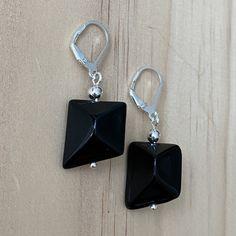 Recycled Black Glass Bead Earrings