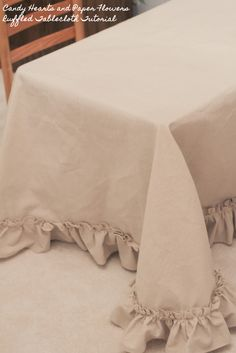 Ruffled Tablecloth Tutorial   Candy Hearts & Paper Flowers