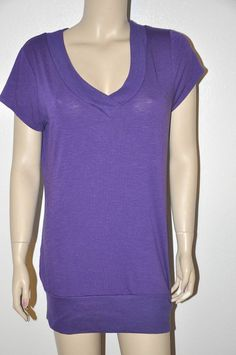 Sexy Purple Banded Hem V-neck low cut top Blouse Tunic Top New XXL-2XL Basic TEE #FG #Tunic #Casual