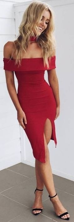 #summer #muraboutique #outfitideas |  Red Off The Shoulder Dress