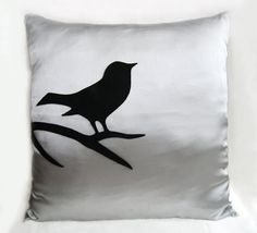 Black Bird On Brunch Silver Grey Pillow Cover. Modern Bird Pillow Cover.  Light Grey Decorative Cushion