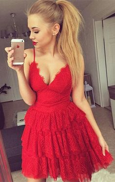 red homecoming dresses,lace homecoming dresses,homecoming dresses short,spaghetti straps homecoming dresses