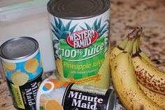 Banana Slush Punch  4 medium ripe bananas   2 cups white sugar   3 cups water   1 46 oz. can pineapple juice   1 12. oz can frozen orange juice concentrate   1 12 oz. can frozen lemonade   3 cups water   3 2-liters ginger ale