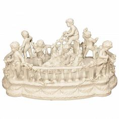 A charming late century Italian white porcelain centerpiece signed Italian Centerpieces, Table Centerpieces, Centrepieces, Porcelain Signs, White Porcelain, Antique Furniture Stores, Silver Centerpiece, Italian Baroque, Royal Crown Derby