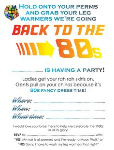 S Party Invitation Print From Free Online Templates S Party - 80s party invitation template
