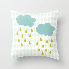 Cloud Pillow, Pastel Colors Pillow, Raindrops Nursery Pillow, Baby Pillow, Mustard Yellow Rain, Teal Blue Clouds, Light Blue Argyle Pattern