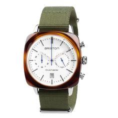 Clubmaster Vintage Acetate - Chronograph tortoise shell white dial - Briston Watches