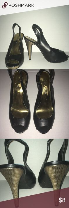 Nine West black peep toe slingback pumps Nine West black with gold peep toe slingback pumps.  Have scuff mark on the front top of right shoe and inner side of left shoe as shown in pictures.  Very limited amount of uses great for office work environment. Nine West Shoes Heels