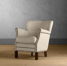 Professor's upholstered chair - petite scale for small spaces... love the nailhead trim.