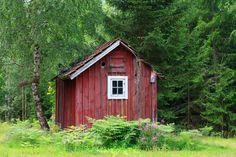 """""""faluroed stuga"""" von Bernd Hoyen #fotografie #photography #fotokunst #photoart #wald #wälder #forest #forests #hütte #hütten #hut #huts #grün #green #rot #red #falunrot #natur #nature #landschaft #landschaften #landscape #landscapes #schweden #sweden #smaland"""