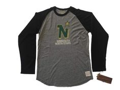 Minnesota North Stars Retro Brand Gray Black Long Sleeve Baseball T-Shirt