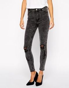 Image 1 ofCheap Monday Spray On Super Skinny Jeans With Distressing