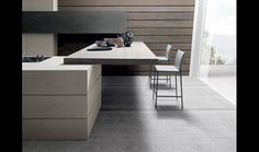 Floating kitchen Island. Has to have a steel bracket running inside.   Particolare cucina Twenty cemento