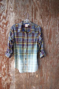 Upcycled, half bleached flannel shirt blouse bleach dyed ROXY button up super soft grunge shirt juniors womens on Etsy, $39.40 CAD