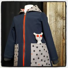Girly softshell Stars, blue and a bear!