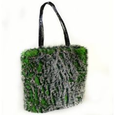 Large Green Grey Faux Fur Tote wolf black by FauxFurFrenzy on Etsy, $99.00
