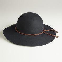 Black Floppy Hat with Braided Tie | World Market