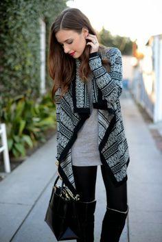 Winter travel cardigan + grey tee + black leggings + boots
