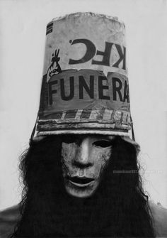 """""""Buckethead"""" - David D. Paper: Bristol A3 25 Bootsy Collins, Rock Band Posters, Best Guitar Players, Best Guitarist, Guns And Roses, Heavy Metal Music, Music Photo, Metalhead, Famous Faces"""