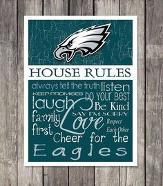 Philadelphia Eagles House Rules 4x4.1/2 Fridge Magnet. Great for anyones Mancave, Fridge, Tool Box, or wherever a magnet sticks.