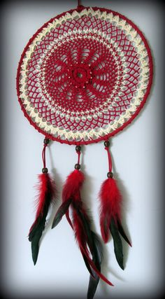 Red dream catcher Wall hanging dream catcher Large by FineBubbles