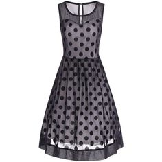 Summer Retro Polka Dot Mesh Yarn Insert Dress (46 BAM) ❤ liked on Polyvore featuring dresses, retro-inspired dresses, blue dot dress, retro dresses, summer dresses and mesh dress