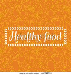 Healthy food - motivational orange seamless pattern background with trendy linear icons and signs of fruits and vegetables - vector illustration. - stock vector