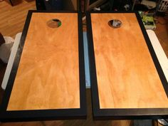 Customized stained cornhole boards