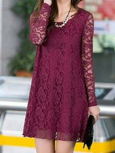 Lovely Long Sleeve Lace Dress in Wine Red ♥ Lace Dress With Sleeves, Long Sleeve Mini Dress, Maroon Long Sleeve Dress, Pretty Dresses, Ideias Fashion, Party Dress, Fashion Dresses, Stylish, Women
